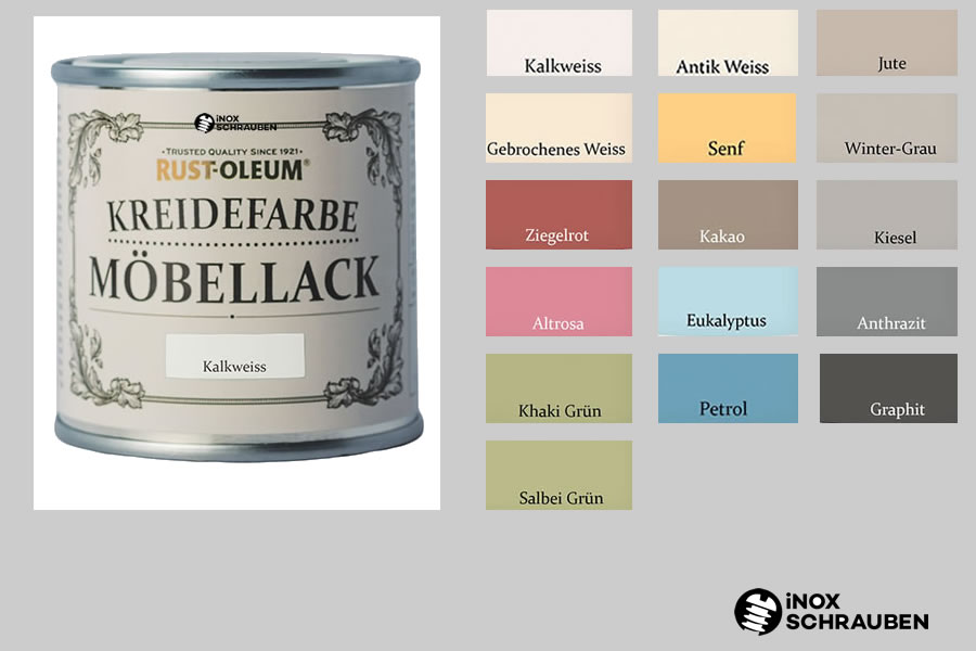 16 farben rust oleum kreidefarbe m bellack chalky chic. Black Bedroom Furniture Sets. Home Design Ideas